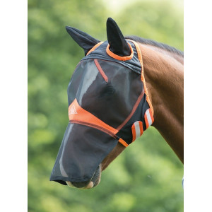 Shires flughuva med öron & nosflärp 6665 black/orange