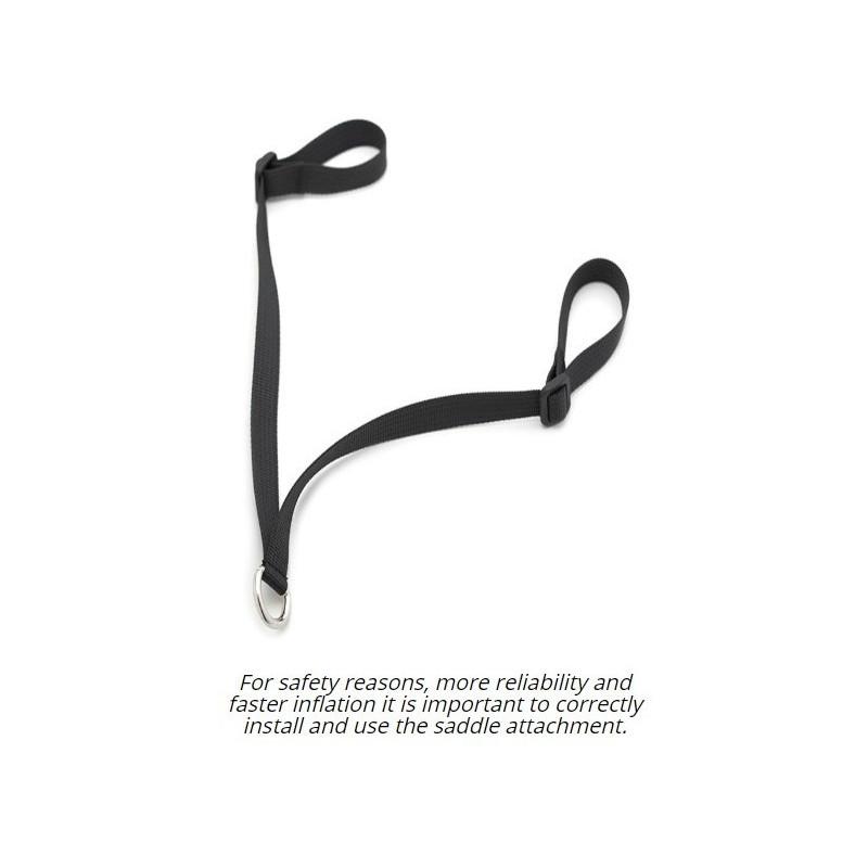 VIKTIGT! Fäst denna strap i stigläderkramporna & koppla karbinhaken i D-ringen.