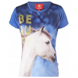 HORSY t-shirt barn med hästmotiv Horka Cobaltblue