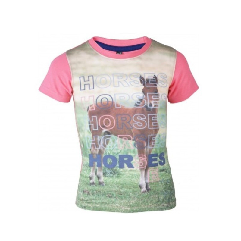 OLLIE t-shirt barn med hästmotiv Horka