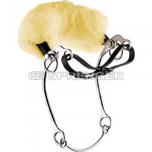 Sprenger hackamore med lång skänkel & äkta fårskinn