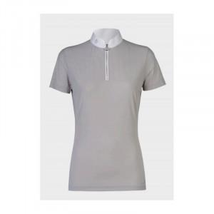 Cavalleria Toscana Perforated Sailing Jersey Competition Front Zip tävlingsskjorta med kort ärm LJUSGRÅ