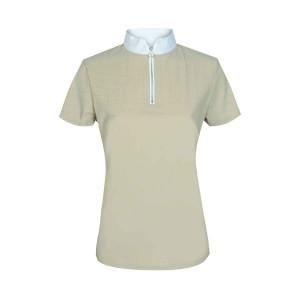 Cavalleria Toscana Perforated Sailing Jersey Competition Front Zip tävlingsskjorta med kort ärm BEIGE