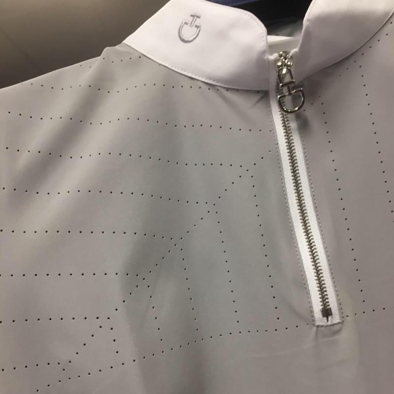 1c47c9d8d156 ... Cavalleria Toscana Perforated Sailing Jersey Competition Front Zip  tävlingsskjorta med kort ärm LJUSGRÅ ...
