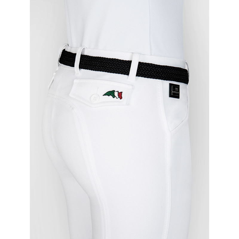 Equiline Boston damridbyxa vit BOSTON - WOMAN KNEE PATCH RIDING BREECHES IN E-PLUS SUPERIOR MICROFIBRE WHITE