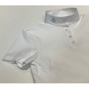 CT Perforated Jersey S/S Polo Tävlingskjorta Junior Cavalleria Toscana COL 0001 Vit CT-POO020JE067-0001