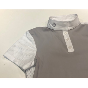 CT Perforated Jersey S/S Polo Tävlingskjorta Junior Cavalleria Toscana COL 8100 Ljusgrå CT-POO020JE067-8100