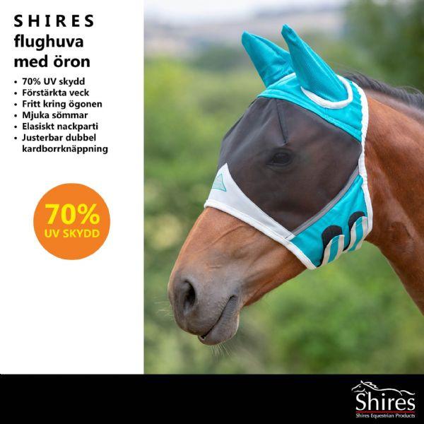 Shires flughuva Teal Fine Mesh Fly Mask with Ears - Flughuva med öron Shires art.6662-Teal/grey