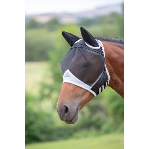 Fine Mesh Fly Mask with Ears - Flughuva med öron Shires art.6662-black/grey