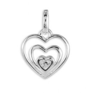 Lyckoamulett silverhjärta med sten