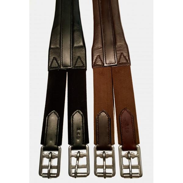 Sadelgjord i läder med dubbel resår